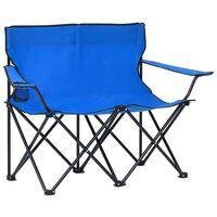 vidaXL 2-os., składane krzesło turystyczne, stal i tkanina, niebieskie