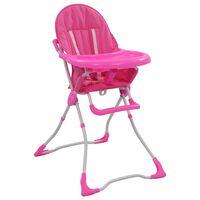 vidaXL Krzesełko do karmienia dzieci, różowo-białe