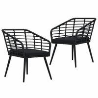 vidaXL Krzesła ogrodowe z poduszkami, 2 szt., polirattan, czarne