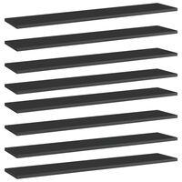 vidaXL Półki na książki, 8 szt., wysoki połysk, czarne, 100x20x1,5 cm