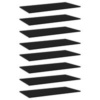 vidaXL Półki na książki, 8 szt., czarne, 80x30x1,5 cm, płyta wiórowa