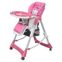 vidaXL Luksusowe krzesełko do karmienia, regulacja wysokości, różowe