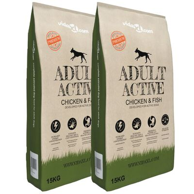 vidaXL Sucha karma dla psów Adult Active Chicken & Fish, 2 szt., 30 kg