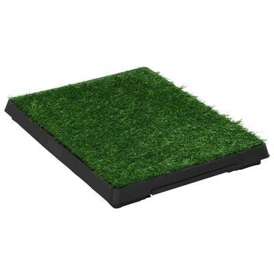 vidaXL Toaleta dla zwierząt z tacą i sztuczną trawą, zieleń, 63x50x7cm