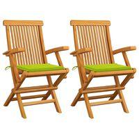 vidaXL Krzesła ogrodowe z jasnozielonymi poduszkami, 2 szt., tekowe