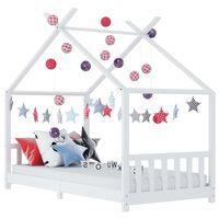 vidaXL Rama łóżka dziecięcego, biała, lite drewno sosnowe, 90 x 200 cm