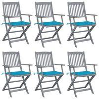 vidaXL Składane krzesła ogrodowe, 6 szt., poduszki, drewno akacjowe