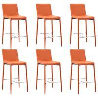 vidaXL Krzesła barowe, 6 szt., pomarańczowe, sztuczna skóra
