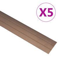 vidaXL Profile podłogowe, 5 szt., aluminium, 90 cm, brązowe