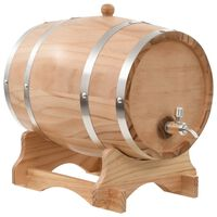 vidaXL Beczka na wino z kranikiem, lite drewno sosnowe, 12 L