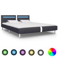 vidaXL Rama łóżka LED, czarna, sztuczna skóra, 160 x 200 cm
