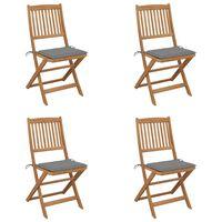 vidaXL Składane krzesła ogrodowe z poduszkami, 4 szt., drewno akacjowe