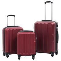 vidaXL Zestaw twardych walizek, 3 szt., kolor czerwonego wina, ABS