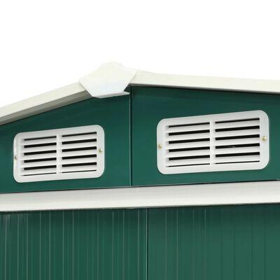 vidaXL Szopa ogrodowa z drzwiami przesuwnymi, zielona, 386x131x178 cm