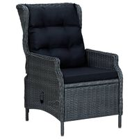 vidaXL Rozkładane krzesło ogrodowe, poduszki, polirattan, ciemnoszare