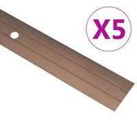 vidaXL Profile podłogowe, 5 szt., aluminium, 134 cm, brązowe