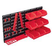 vidaXL 34-częściowy organizer na panelach ściennych, czerwono-czarny
