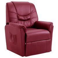 vidaXL Fotel rozkładany, czerwone wino, sztuczna skóra