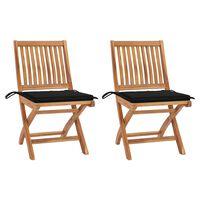 vidaXL Krzesła ogrodowe, 2 szt., czarne poduszki, lite drewno tekowe