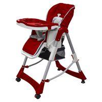 vidaXL Luksusowe krzesełko do karmienia, regulacja wysokości, czerwone