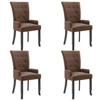 vidaXL Krzesła jadalniane z podłokietnikami, 4 szt., brązowe, tkanina
