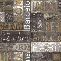Urban Friends & Coffee Tapeta z nazwami miast, szaro-złota