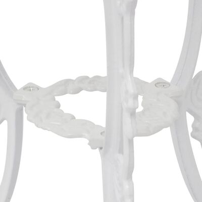 vidaXL 3-cz. zestaw mebli bistro ze stopu aluminium, biały