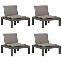 vidaXL Krzesła ogrodowe z poduszkami, 4 szt., plastik, antracytowe