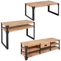 vidaXL Trzyczęściowy zestaw mebli do salonu, drewno akacjowe