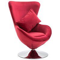 vidaXL Fotel obrotowy z poduszką, czerwony, aksamitny