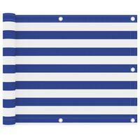 vidaXL Parawan balkonowy, biało-niebieski, 75x400 cm, tkanina Oxford