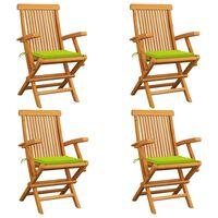 vidaXL Krzesła ogrodowe, jasnozielone poduszki, 4 szt., drewno tekowe