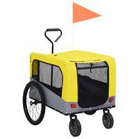 vidaXL Przyczepka rowerowa 2-w-1, dla zwierząt i do biegania, żółty-szary