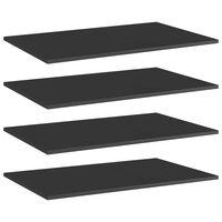 vidaXL Półki na książki, 4 szt., wysoki połysk, czarne, 80x50x1,5 cm