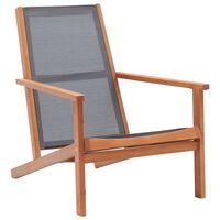 vidaXL Krzesło ogrodowe, szare, lite drewno eukaliptusowe i textilene