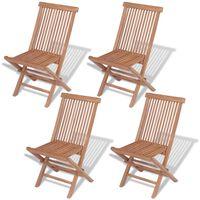 vidaXL Składane krzesła ogrodowe, 4 szt., lite drewno tekowe