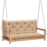 vidaXL Huśtawka ogrodowa z beżową poduszką, 120 cm, drewno tekowe