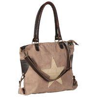 vidaXL Torba shopper, brązowa, 41x63 cm, płótno i skóra naturalna