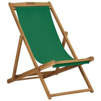 vidaXL Składany leżak plażowy, lite drewno tekowe, zielony