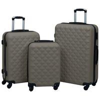 vidaXL Zestaw twardych walizek na kółkach, 3 szt., antracytowy, ABS