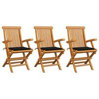 vidaXL Krzesła ogrodowe, czarne poduszki, 3 szt., lite drewno tekowe