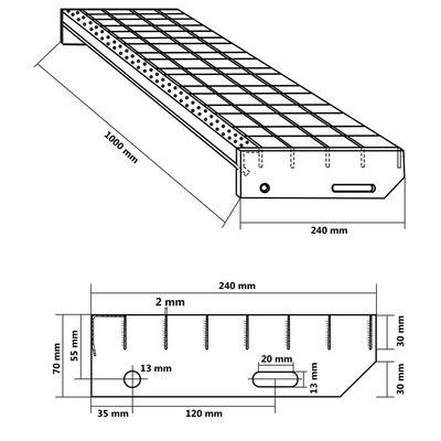 vidaXL Stopnie, 4 szt., wciskane, galwanizowana stal, 1000x240 mm