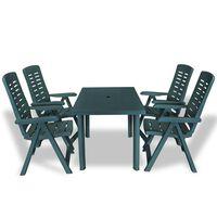vidaXL 5-cz. zestaw mebli ogrodowych, plastikowy, zielony