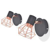vidaXL Lampy ścienne, 2 szt., E14, czarno-miedziane