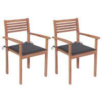vidaXL Krzesła ogrodowe, 2 szt., antracytowe poduszki, drewno tekowe