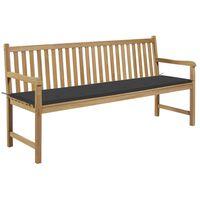 vidaXL Ławka ogrodowa z antracytową poduszką, 175 cm, drewno tekowe