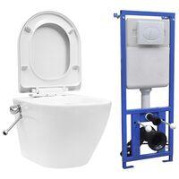 vidaXL Toaleta bezkołnierzowa ze spłuczką podtynkową, ceramika, biała