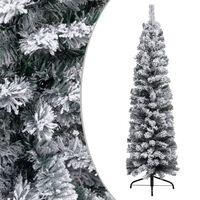 vidaXL Smukła sztuczna choinka pokryta śniegiem, zielona, 150 cm, PVC