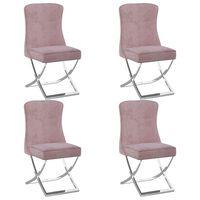 vidaXL Krzesła stołowe, 4 szt., różowe, 53x52x98 cm, aksamit i stal