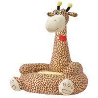 vidaXL Fotel dla dzieci żyrafa, pluszowy, brązowy